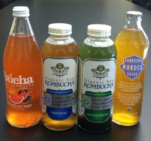 左から、bucha グレープフルーツ&セージ味、 GT オリジナル味、GTマルチグリーン味、KWDジュニパーベリー・スペアミント・レモンマートル味