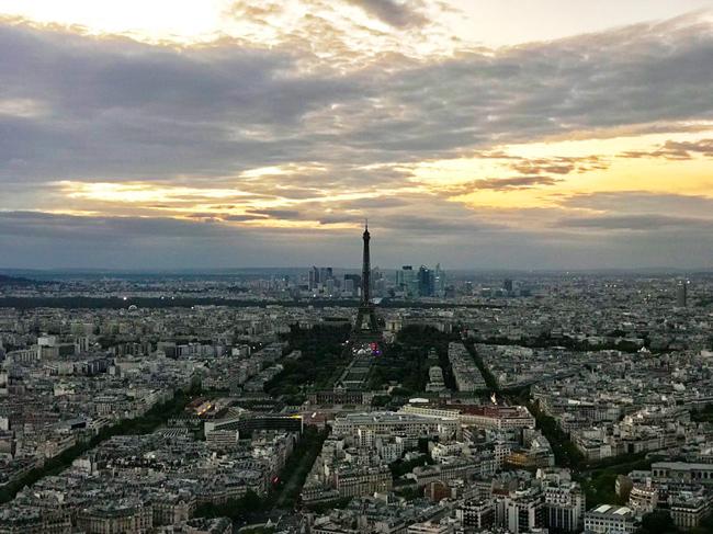 エッフェル塔がそびえ立つ、パリ市の景色。