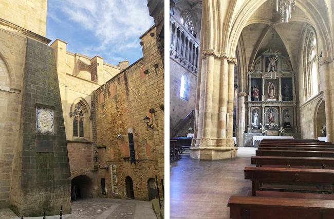 趣のある外観の教会(左上写真)、室内も歴史を感じさせます。(右上写真)