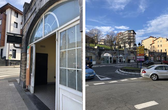 バス停界隈(右上写真)の案内所左上写真)も閑散としています。