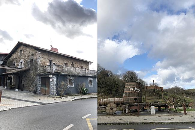 シドリア外観(左上写真)と敷地内には実際に使われている道具や樽が展示されています。(右上写真)