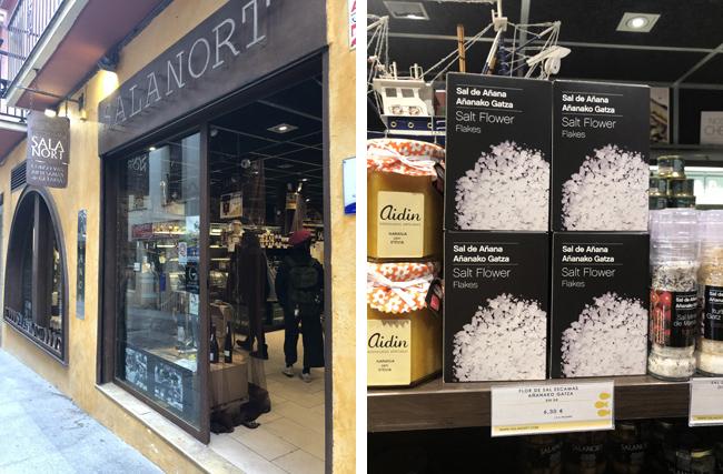 「サラノルト」の店先(左上写真)、箱入れの「ソルトフラー」(右上写真)