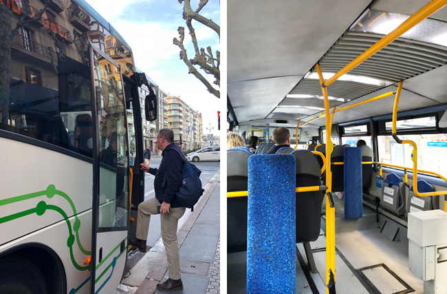 ゲタリア行きのバスは、車内も広く清潔。