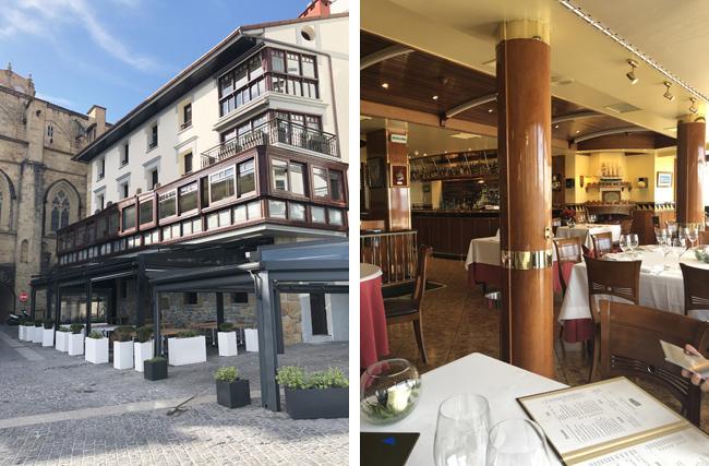 1階はカジュアルなレストラン、2階はるミシュランレストランの外観(左上写真)、店内も雰囲気たっぷり。(右上写真)