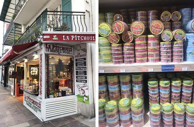 保存食材をたくさん取り揃えたお店(左上写真)、缶詰のデザインに目が奪われます!(右上写真)