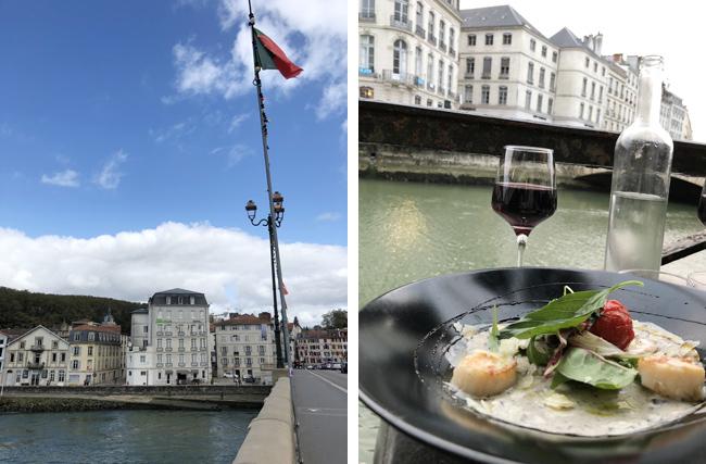 川沿いには多くのレストランが(左上写真)。ぜひテラス席を確保して(右上写真)。