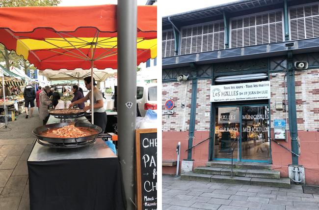 出店ではパエリアまで!(左上写真)、中央市場の入り口はこじんまりとしています。(右上写真)