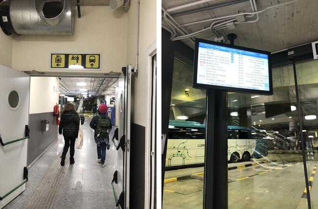 地下にはバスターミナル(左上写真)、電子掲示板で番号をチェック!(右上写真)