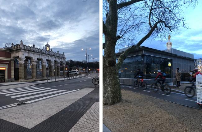 駅舎(左上写真)と道路を挟みガラス張りの建物が入口になります。(右上写真)