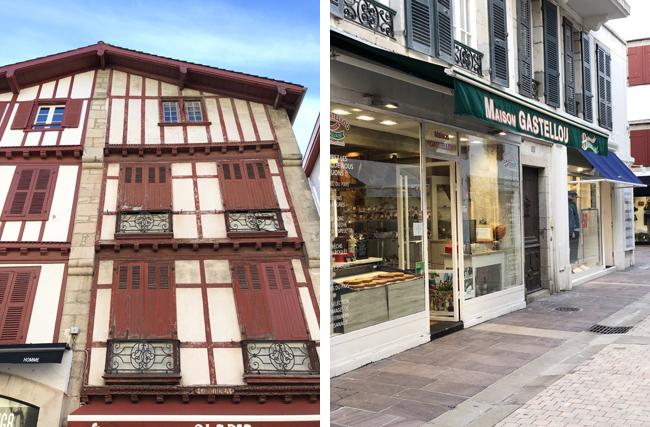 フランスバスクらしい建物(左上写真)、どの店舗もおしゃれ。(右上写真)