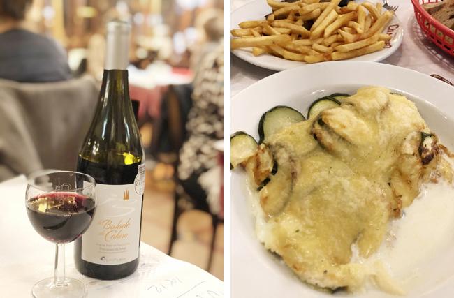 フランス産ワイン(左上写真)と前菜のズッキーニのチーズ焼き(右上写真)。