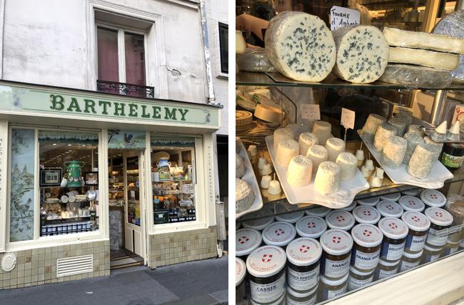 雑貨屋さんのような外観のお店(左上写真)中はチーズがズラリ(右上写真)。