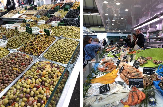 オリーブは種類が豊富!(左上写真)さすがに鮮魚は買わず、見るだけです(右上写真)。