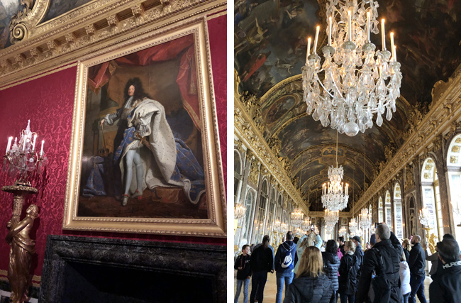 壁面には肖像画が(左上写真)、きらびやかなシャンデリアを世界中からの観光客がスマホで撮影(右上写真)。