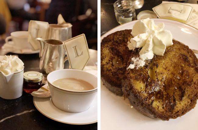 ポットサーブのカフェオレ(左上写真)とクリームが添えられたフレンチトースト(右上写真)。