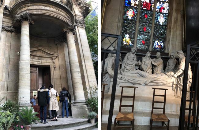 外観(左上)も教会内(右上)も大きくはないのに荘厳な雰囲気。