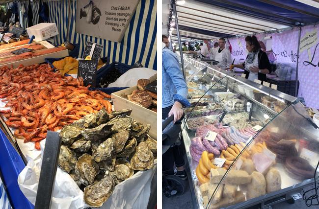 新鮮な牡蠣も大ぶり(左上写真)、ソーセージもビックサイズ(右上写真)!
