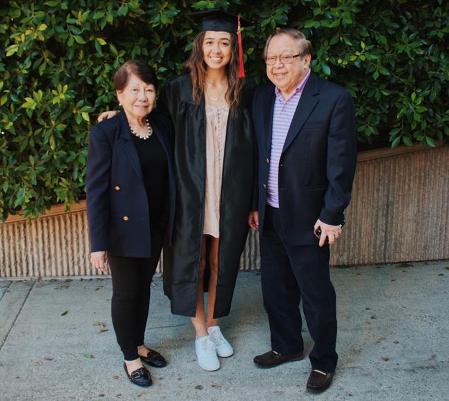 2020年の卒業時に家族と一緒に。
