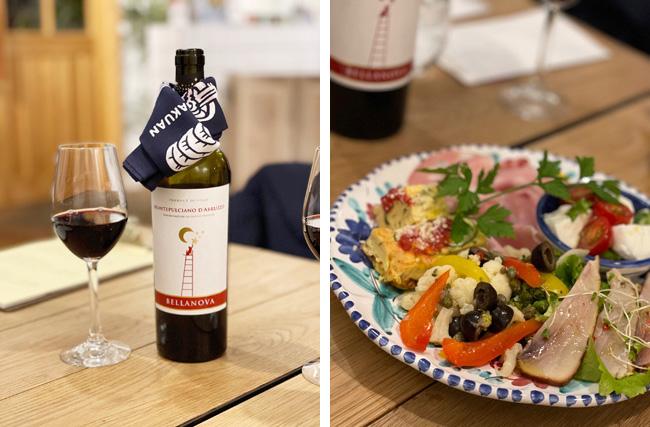 赤ワインで乾杯(左上写真)してから、さまざま種類の前菜盛り合わせを(右上写真)